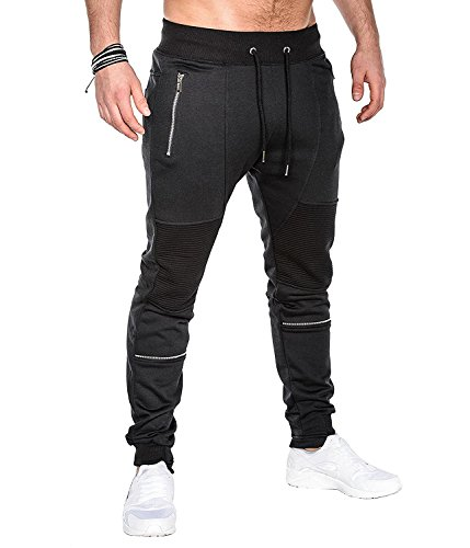 MODCHOK Men's Jogger Sweatpants Fleece Pants Workout Trousers Slim Fit Tracksuit A-Black L