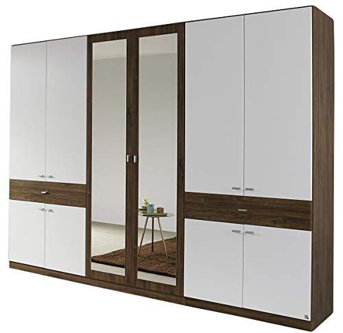 Kleiderschrank Ida Eiche Sterling/weiß 10-türig B 271 cm Jugendzimmer Schlafzimmer Schrank Drehtüren Spiegeltüren Wäscheschrank