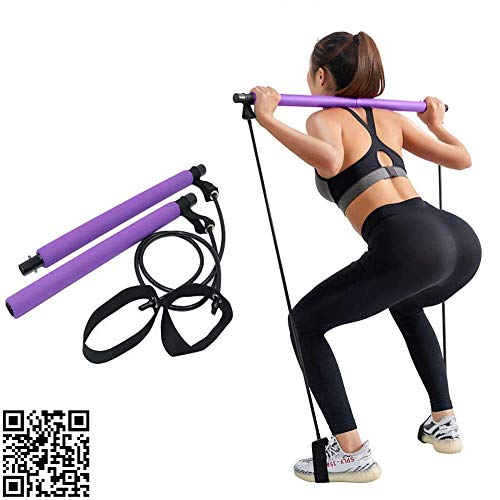 RURING Portable Pilates Bar Kit with Resistance Band Yoga Exercise Pilates Stick with Foot...