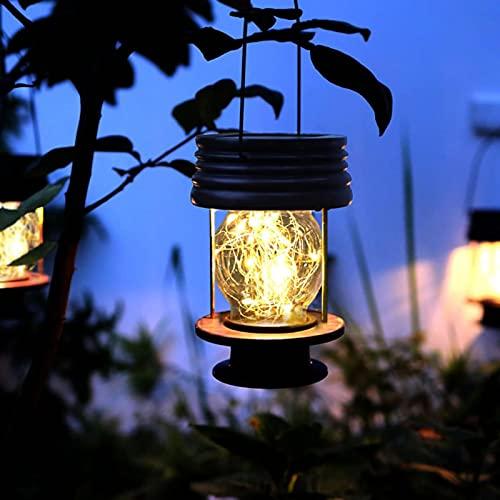 Linternas solares colgantes al aire libre luces solares impermeables linternas LED fuera de la lámpara de mesa diseño vintage para paisaje, patio, jardín, camino, decoración