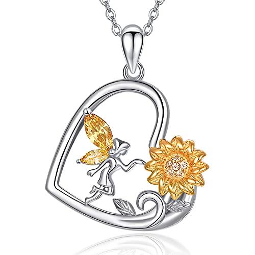 Collar de plata de ley 925 con girasol para mujer TANGPOET, collar de corazón seguidor de hada, colgante de sol, joyería para mamá, esposa, novia