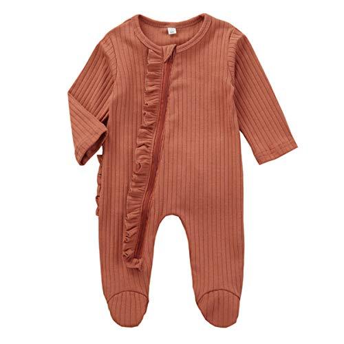 Kuriozud Newborn Baby Girl Boy Zipper Sleeper Ruffle Footed Romper One Piece Clothes (Orange Zipper Footie, 0-3 Months)