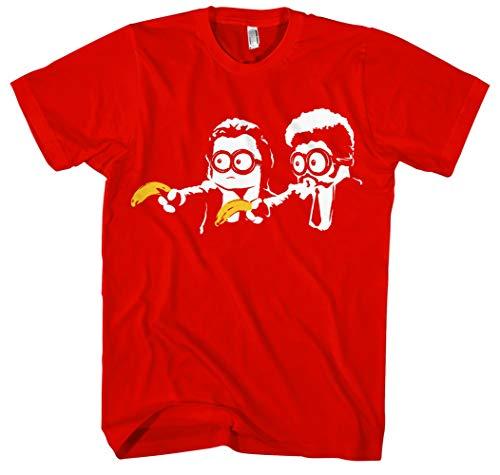 Pulp Fiction Minions Männer und Herren T-Shirt | Minion Lustig Flauschig Kostüm Fun (M, Rot)