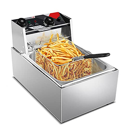SBJ Freidora Eléctrica Comercial con Cesta, Freidora de Cocina de Alta Capacidad, con Función de Control de Temperatura y Tiempo, para Uso Comercial y Doméstico