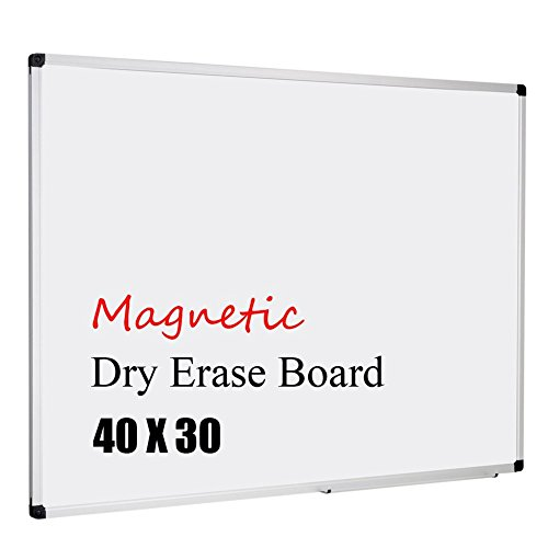 XBoard Aluminum Frame Wall-Mounted 40 x 31 Inch Magnetic White Dry Erase Board with Removable Marker Tray