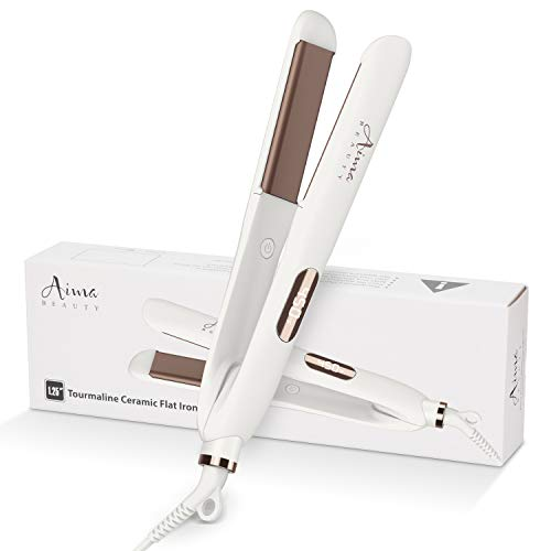 Titanium Nano Flat Iron 1¼ Inch of Portable Straightener, Aima Beauty 2 in 1 Hair Straightener with 3D Floating Ceramic Coating Plates for Thin Hair, LCD Temp Display, Dual Voltage
