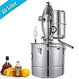 HUKOER 20L Destilador de Agua Alcohol Fermentador de Acero Inoxidable para elaboración de Bebidas...