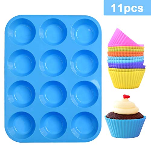 Muffinvorm,mini siliconen bakvormen platen bakplaat voor 12 muffins met anti-aanbaklaag,voor cupcake met 12st siliconen bakbekers geschikt voor elke oven,cupcakeblikken herbruikbare platen(2st)