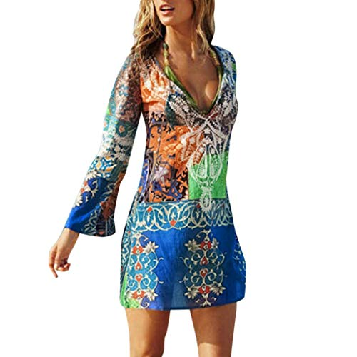 Hulday T Shirt Kleid Damen V Ausschnitt Up Cover Bikini Strandkleid Bikinikleid Mode...