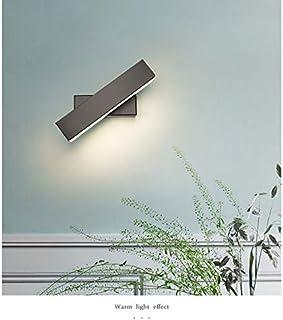 TIAN PAN 6W/26cmLED lámparadepared Interior,lámpara giratoria de 350 °,Apliques de Pared,Moda Agradable Luz de Ambiente,AC100-240V,2700-3200k Luz blanca cálida [Clase energética A +] (Color: negro)
