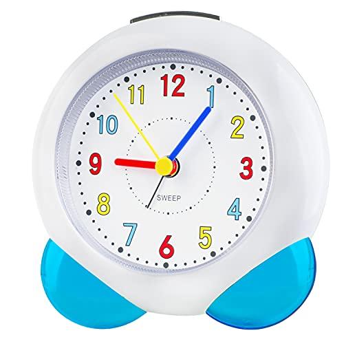 Sveglia analogica per bambini e bambine, con sveglia analogica per bambini, senza ticchettio, silenziosa, senza ticchettio, con lancette luminose, luce notturna per ragazzi e ragazze (blu103)