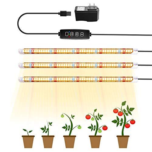 TOPLANET Lámpara de Planta, Lampara Led Cultivo Tubo, T5 Full Spectrum con Luz Amarillo Rojo Blanco, Luz Plantas Crecimiento con Temporizador Automátic, 3 Modos Lámpara LED para Indoor Cultivo
