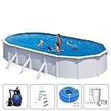 KWAD Schwimmbad mit Filterpumpe Stahlwandbecken Schwimmbecken Swimming Pool Familienpool Planschbecken Aufstellbecken Komplettset Oval 6,1x3,6x1,2m