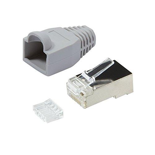Faconet® 20er Pack RJ45 Netzwerkstecker Crimpstecker CAT 6 STP mit Einfädelhilfe und Knickschutz in Grau geschirmt Steckverbinder Crimp Stecker LAN Patchkabel Netzwerkkabel CAT6 cat.7 RJ 45