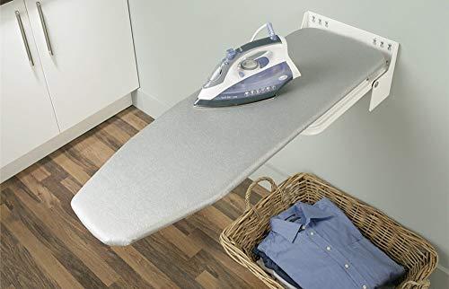 Gedotec Bügelbrett Klappbar IRONFIX Bügeltisch-Bezug mit silber-farben | Klapptisch 180° drehbar | Stahl weiß | Wand-Bügelbrett für Wandmontage | MADE IN GERMANY | 1 Stück mit Befestigungsmaterial