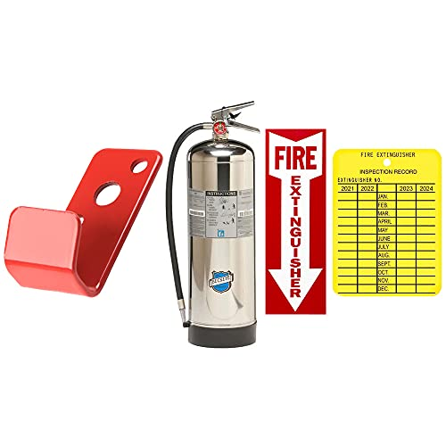 Water Fire Extinguisher Refillable UL/ULC Rated Stainless Steel 2.5 Gallon Water Pressure Fire Extinguisher Buckeye with Wall Hook, Sign and Inspection Tag