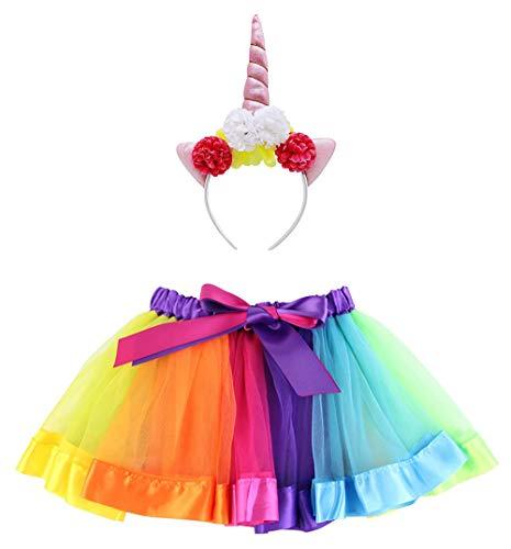 Carnavalife Disfraz de Conjunto de Falda Tutú Arcoíris y Diadema Unicornio Floral (Pack B/ unicornio)