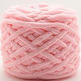 Zoomlie 100 g de hilo grueso azul para lana de ganchillo hecho de algodón 100% poliéster, hilo de tejer a mano súper suave para zapatos de chal bufanda manta (4 bolas de 100 g, color 2)