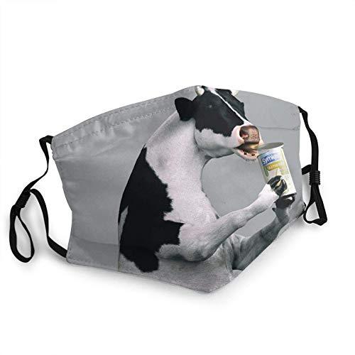 Vaca consumiendo leche en polvo cara M-A-S-K reutilizable lavable bufanda anti polvo bandanas para mujeres hombres con 2 filtros