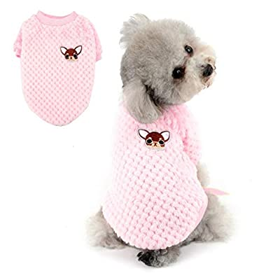 SELMAI Jumpers for Small Medium Dogs Soft Warm Fluffy Sweater Puppy Chihuahua Coat Dachshund Clothing Plush Cats Apparel for Pets Daily Wear Windproof Cold Weather Walking Outdoor in Winter Pink L