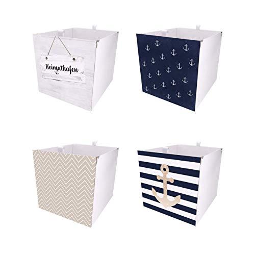 Debe 4er Kallax Boxen Set, Maritim/Anker Kallax Aufbewahrungsbox Set, Zweiseitig Gestaltet, Box Für Kallax, Aufklappbar, Aufbewahrungsbox Für Kallax, 4er Kallax Box Sets