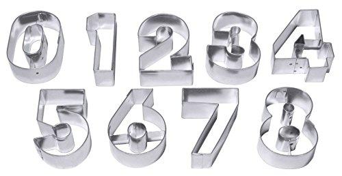 Contacto 637/060 - Ausstechformen ZAHLEN, groß 9 Ausstecher für alle Ziffern aus Weißblech