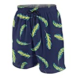 927 Youth Casual Board Shorts Quick Dry Summer Surf Beach Pants Swim Trunks for Girls Boys Palm Leaves Navy Blue