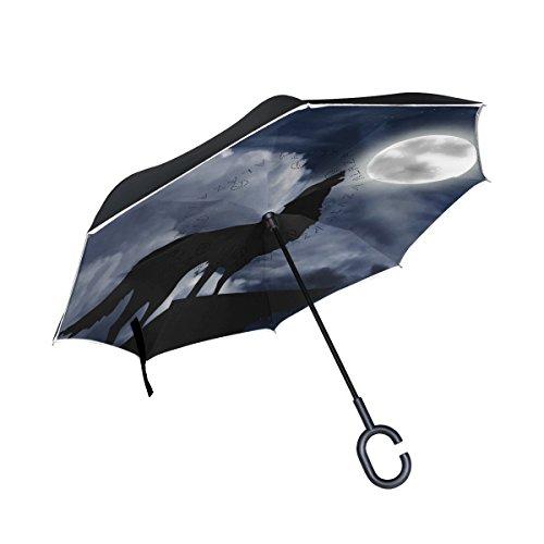 ISAOA Große Schirm Regenschirm Winddicht Doppelschichtige Konstruktion seitenverkehrt Faltbarer Regenschirm für Auto Regen Außeneinsatz, C-Förmigem Henkel hinhängen Full Moon Wolf Hunt Regenschirm