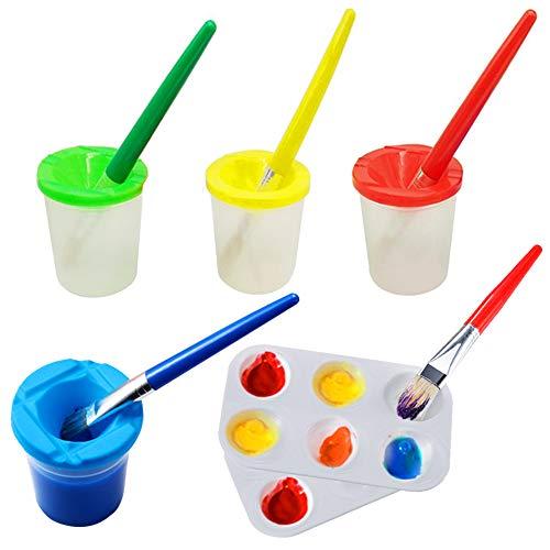 Juego de 4 vasos de pintura a prueba de derrames con 4 pinceles de pintura y 2 bandejas de palé de pintura