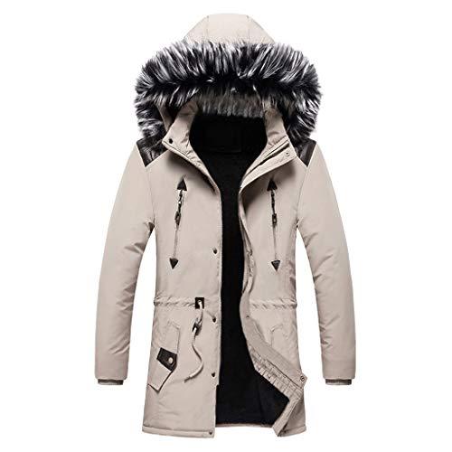 Plot Herren Winterjacke Warm Winterparka mit Pelzkapuze Einfarbig Parka Jacken Lang Winter Warm Outdoor Kapuzenjacke Softshell Jacke Outwear Coat