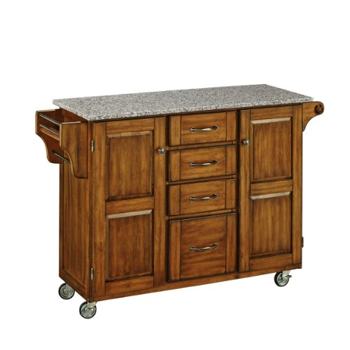Home Styles Large Mobile Create-a-Cart Warm Oak Finish Two Door Cabinet Kitchen Cart with Salt and Pepper Granite Top, Adjustable Shelving, Four Large Utility Drawers