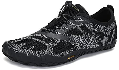 SAGUARO Hombre Mujer Zapatillas Barefoot Minimalistas Calzado de Training Ligeras Cómodas para Caminar Senderismo Ciclismo Trail Running Trekking Playa Agua Exterior Interior, Ébano Negro, 39