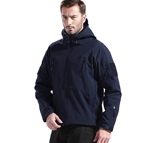 FREE SOLDIER Men's Fleece Lined Softshell Jacket Water Resistant Tactical Jacket (Dark Navy, Large/US)