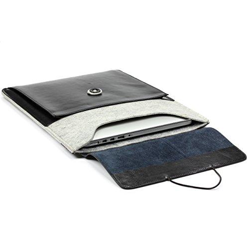 Urcover Handgefertige Fashion Designer Mac-Book Pro 15,4 Zoll (50 cm) Tasche Hülle Tasche Sleeve dpark Style Notebooktasche Laptophülle Hell Grau Schwarz