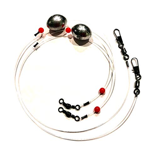 Stellar Fishing Egg Sinker Rigs (4 Pack) with Sinker Fishing Swivel and Snap Connector and Egg Weight, Mono 100lb Fishing Line for Trout, Flounder, Redfish, Drum and Bottom Fish (2 Ounce, 4 Pack)