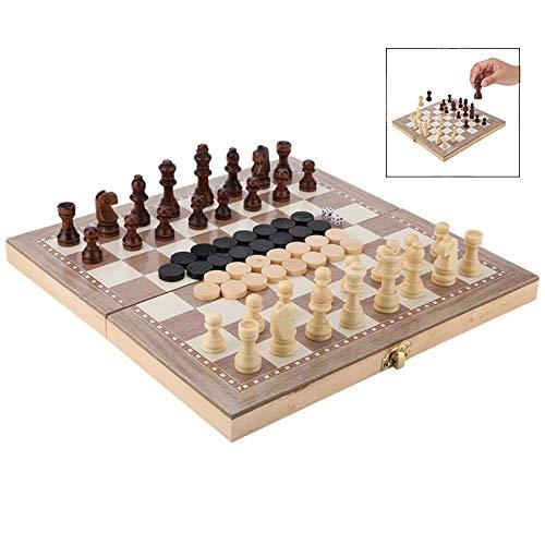 iPobie Tablero de ajedrez Juego de Ajedrez, Verificadores,Backgammon para niños y Adulto Portátil de Tablero Plegable para Niños y Adultos29.3 * 29cm