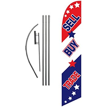 Buy Sell Trade Advertising Feather Banner Swooper Flag Sign with Flag Pole Kit and Ground Stake