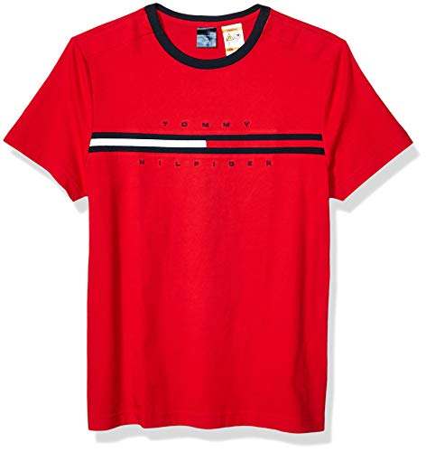 Tommy Hilfiger Men's Adaptive T Shirt with Magnetic Buttons at Shoulders, Apple RED, SM