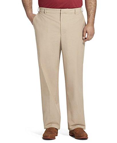 Van Heusen Men's Big and Tall Flex Flat Front Oxford Chino Pant, khaki, 50W X 29L