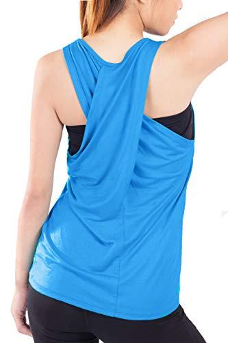 Lofbaz Frauen Cross Back Yoga Shirt Aktivbekleidung Trainings Racerback Tank Top - Hellblau - S