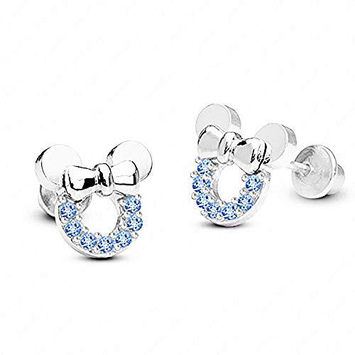Baobei - pendientes de mickey mouse para mujer, plata de ley 925, circonita cúbica azul, pendientes de botón de mickey mouse, joyería fina elegante para mujeres y niñas con joyero