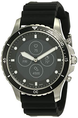 Fossil FB-01 HR- Hybrid Smartwatch Schwarzes Zifferblatt mit Display und schwarzem Silikonarmband für Herren - FTW7018