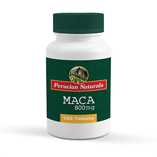 Peruvian Naturals Maca 800mg - 100 Tablets   Made with Raw Maca Root Powder from Peru for Energy and Fertility