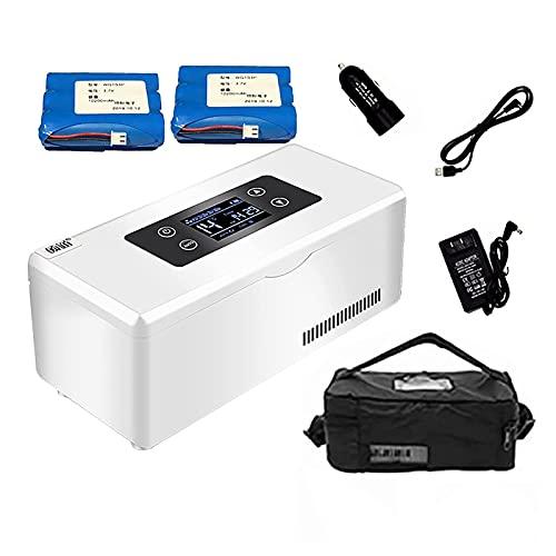 Yokbeer Tragbare Insulin Kühlbox für Medikamente Mini Intelligente Elektrische Mini Kühlschrank Kühltasche Thermostat USB Geeignet FüR Reisen/Interferon/Lagerung Von Arzneimitteln (Color : 2 Battery)