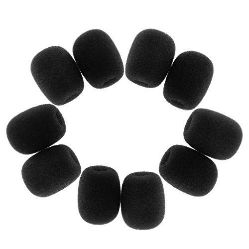 MagiDeal 10 Piezas Mini Bonnette Micro Anti Viento de Espuma Parabrisas Portada Micro Tie - Negro