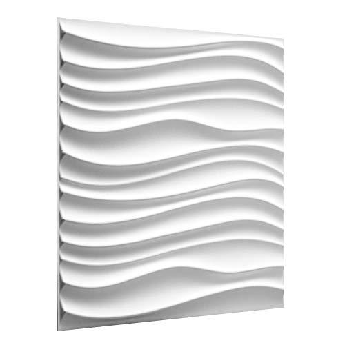 WallArt 3D Wandpaneele Maxwell - 3D-Wandverkleidung - Raumstyling mit 3D Wandplatten - Alternative Wandverkleidung - Streichbare 3D Reliefplatten - 50 cm x 50 cm - 12 Stück für 3 m² Wandfläche