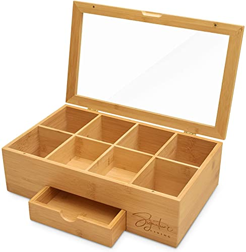 Signature Living Bamboo Wooden Tea Box Storage Organizer with Drawer (8 Compartments) Large Tea Organizer Box for Tea Bags and Loose Tea - Sturdy, Natural Bamboo Materials