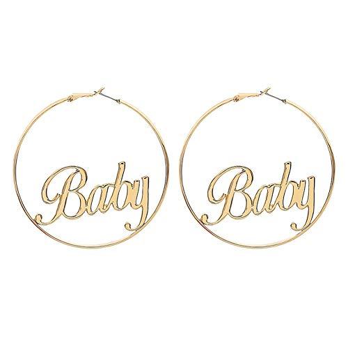 Qinlee Kreis Damen Ohrstecker Ohrringe Set Silber Creolen groß Polierte Runde Kreis Endless Ohrringe für Damen Baby Gold