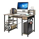 Home-Office-Computer-Desk-with-Shelves-Drawer 47' Laptop Notebook PC Coner Desk Industrial Small Desk Study Writing Table with Monitor Stand Storage for Home Office Vintage Brown