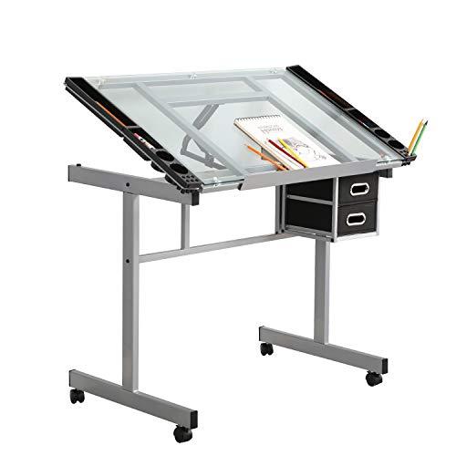 sogesfurniture Zeichentisch Architektentisch aus Gehärtetem Glas, Neigungsverstellbar, rollbarer Computertisch Schreibtisch mit Stauraum, für Handwerk, Schreiben, Malen, BHEU-UT-DT1033-WT